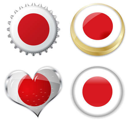 edit valentine: Illustration of flag of japan in various shapes Illustration