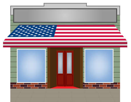 cooper: illustration of USA flagged color Vector awning