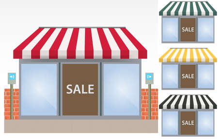 illustration of four different color Vector awnings  Vector