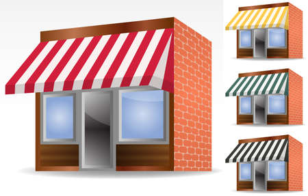 illustration of four different color Vector awnings  Stock Vector - 8742930