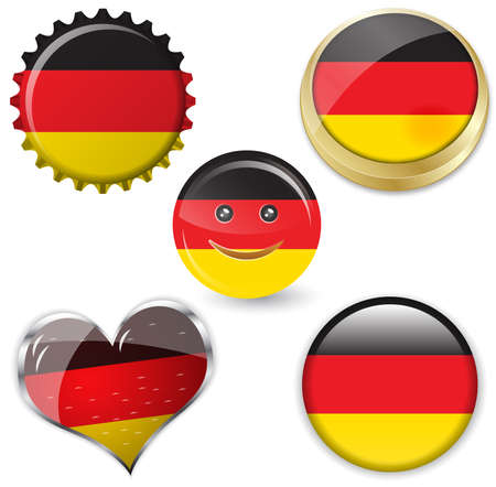 illustration of flag of germany in various shapes