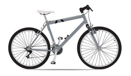 mode of transportation: illustrazione della bicicletta Mountain in grigio isolata on white Vettoriali