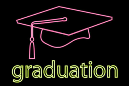 mortar board: illustration of neon graduation cap symbol  Illustration