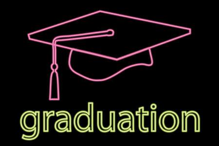 mortar hat: illustration of neon graduation cap symbol  Illustration
