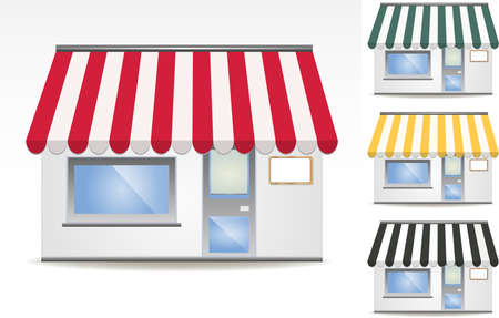 awnings: illustration of four different color awnings