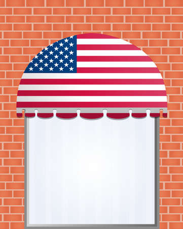 illustration of usa flagged color awning  Vector