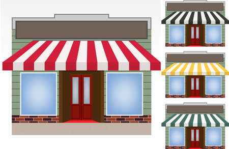 storefront: illustration of four different color vector awnings