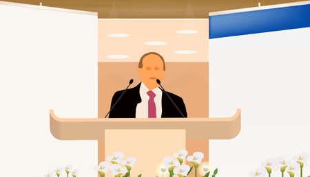 a person doing a presentation at a business conference or product marketing in front of crowd to audience. add your text on blank screen Stock Vector - 9150354
