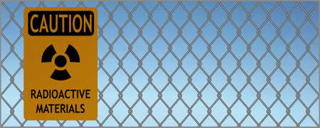 illustration of sign of caution radioactive materials hanging on a fence against blue sky Vector