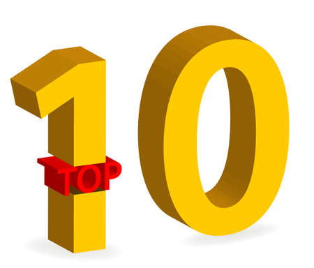 gold top: illustration of gold top 10 winner 3d symbol isolated