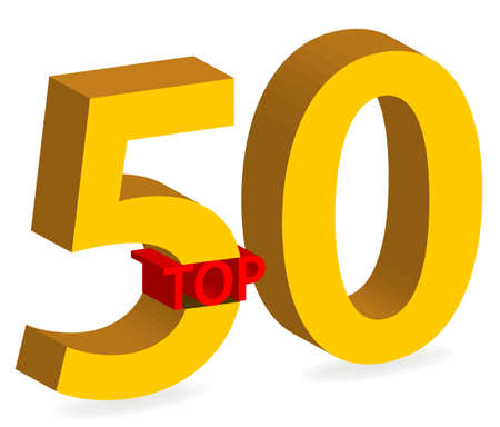 gold top: illustration of gold top 50 winner 3d symbol isolated