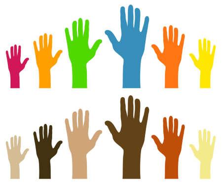 bras lev�: Illustration des mains pour le concept de diversit� Illustration