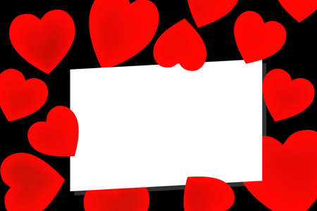 illustration of valentines love letter on red hearts and black background Stock Vector - 9228548