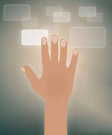 access control: illustration of a right hand with concept of access control Illustration