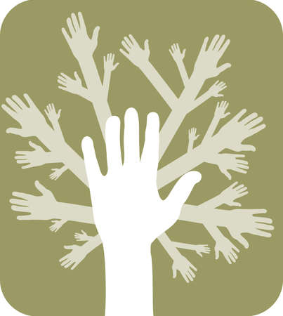 fundraiser: illustration of concept of hands tree over olive background Illustration