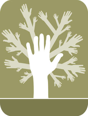 foliage frond: illustration of concept of hands tree over olive background Illustration