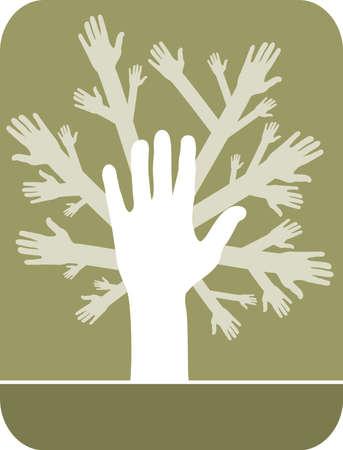 reforestaci�n: Ilustraci�n del concepto de �rbol de manos sobre fondo de aceite de oliva