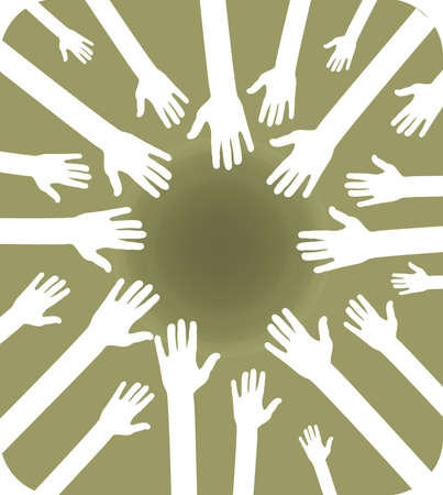 Ilustración de equipo de manos agrupados para trabajo en equipo, se unió a fuerza y el mismo objetivo Ilustración de vector