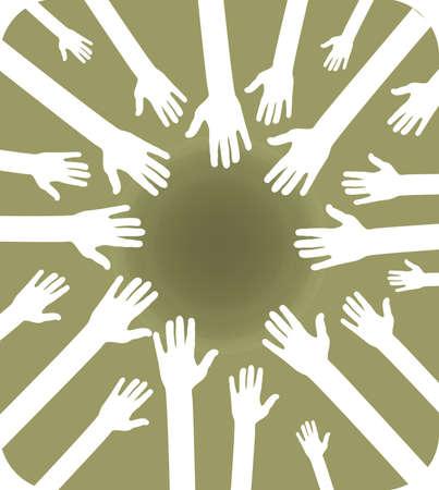 solidaridad: Ilustraci�n de equipo de manos agrupados para trabajo en equipo, se uni� a fuerza y el mismo objetivo Vectores