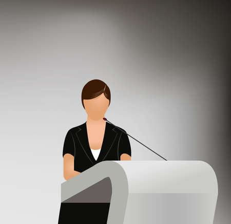 a woman doing a presentation at a business conference or product marketing in front of crowd to audience. add your copy text on blank projection screen. Vector