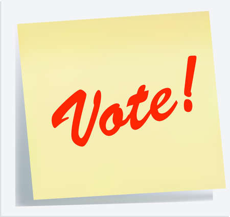 illustration of a Reminder Note - VOTE! in yellow red Vector