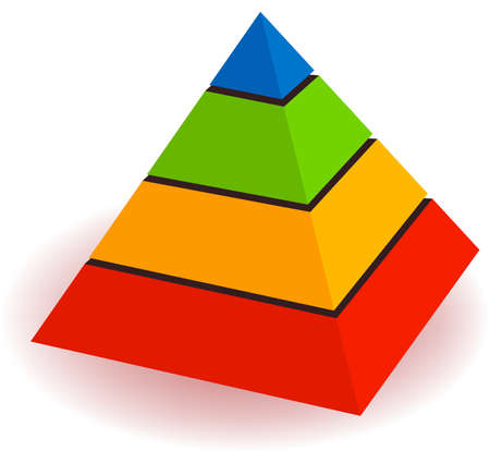 shapes: illustration of a pyramid for telling concept of hierarchy  Illustration
