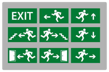 depart: illustration of Exit Sign in various different styles