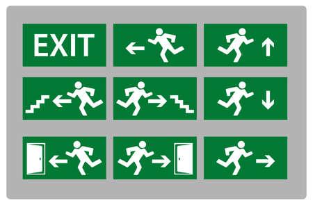 salida de emergencia: Ilustraci�n de la se�al de salida en diversos estilos diferentes Vectores