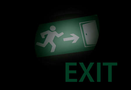 going green: illustration of a exit sign glowing in the dark Illustration