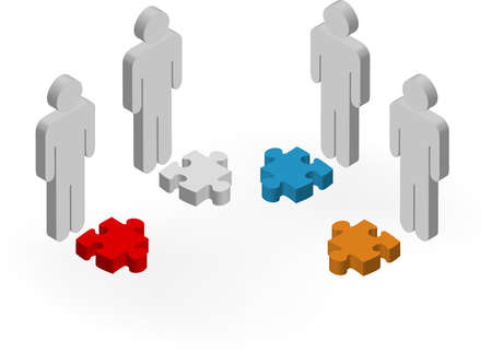 building activity: illustration of 3d characters holding jigsaw pieces