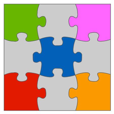 puzzle piece: Ilustraci�n de soluci�n del rompecabezas en varios colores en ella