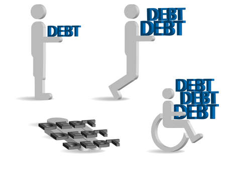 physical pressure: illustration of 3d characters  carrying debt on white background