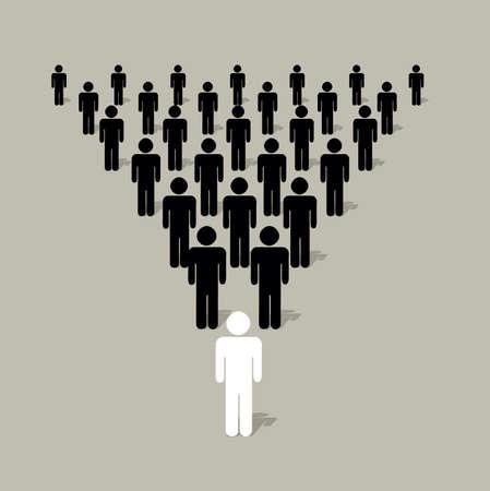 leiderschap: piramidale structuur met menselijke silhouetten met aa leider in het bijzijn van andere