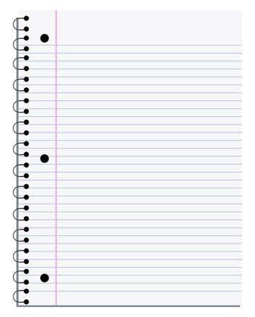 Ilustración de una página de cuaderno en blanco que puede personalizar