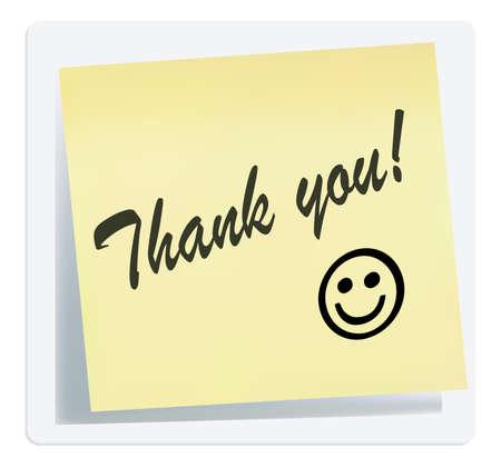 sticky notes: illustratie van dank u nota op wit wordt geïsoleerd