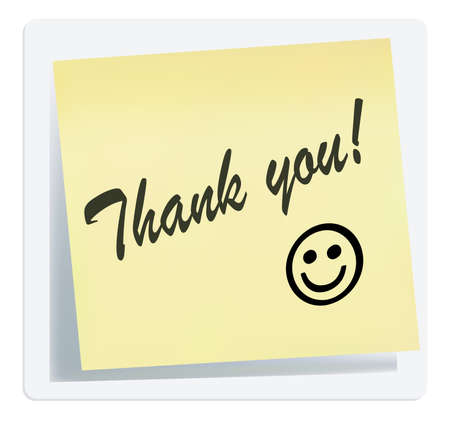 yellow sticky note: illustration of thank you note isolated on white