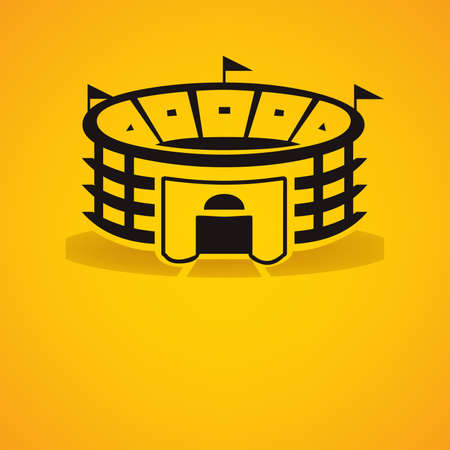 illustration of an arena with shadow over yellow background Illustration