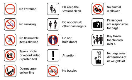 no entrance: Ilustraci�n de los signos utilizados en las estaciones de los sistemas de transporte ferroviario