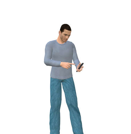 pda: man of 3d character in a causal suit looking at his smartphone