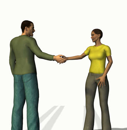 meet and greet: handshaking man and woman of 3d characters Stock Photo