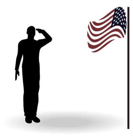 salut: Silhuetten av en armésoldat på en plattform salutera en USA flagga