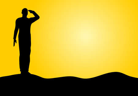 Silhouette of an army soldier saluting on hills against sunset Stock Vector - 10339054