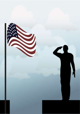 iraq war: Silhouette of an army soldier on a platform saluting a usa flag