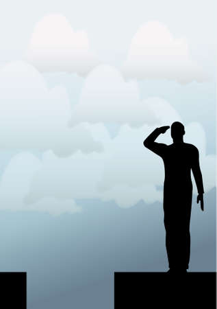Silhouette of an army soldier on a platform saluting Vector