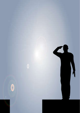 Silhouette of an army soldier on a platform saluting Stock Vector - 10339068