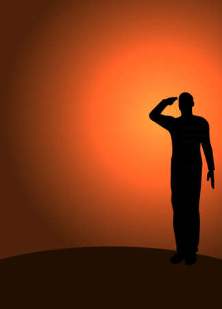 power rangers: Silhouette of an army soldier on a platform saluting