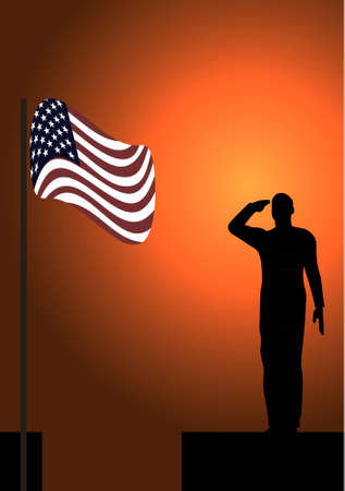 Silhouette of an army soldier on a platform saluting a usa flag  Vector