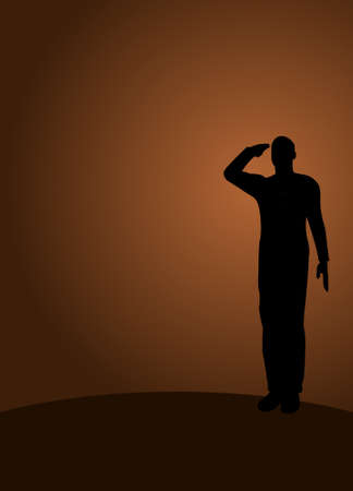armed force: Silhouette of an army soldier on a platform saluting