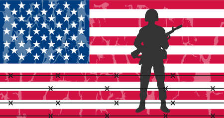 army men: Silhouette of an army soldier in front of usa flag