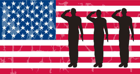 Silhouette of an army soldiers on a platform saluting a usa flag